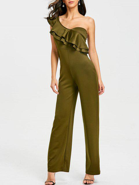 One Shoulder Flounce Wide Leg Jumpsuit - ARMY GREEN L
