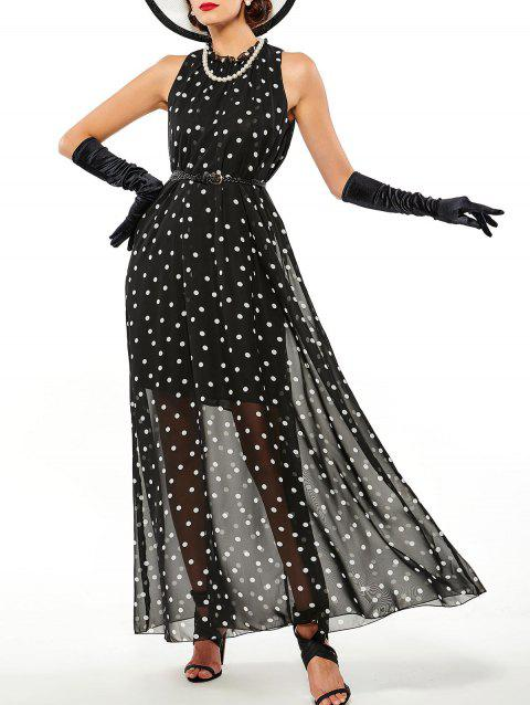 Polka Dot Sheer Overlay Maxi Dress - BLACK M