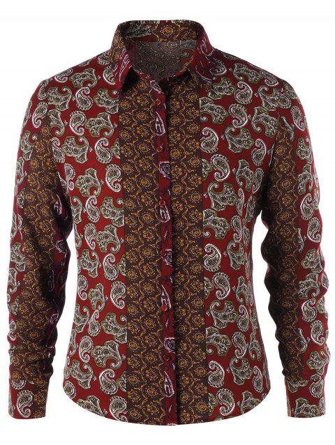 Paisley Print Button Up Shirt - CLARET M