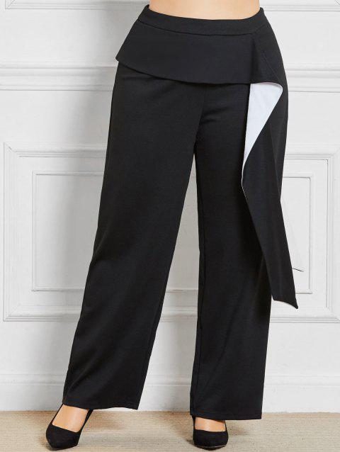 Plus Size Wide Leg Pants with Ruffles Detail - BLACK XL