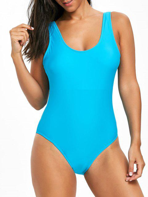 High Leg Low Back One Piece Swimsuit - CLOUDY XL