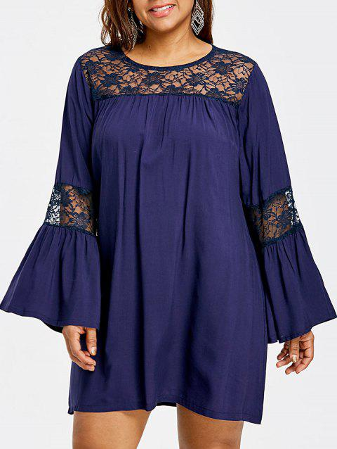 Plus Size Flare Sleeve Babydoll Dress - CADETBLUE 2XL