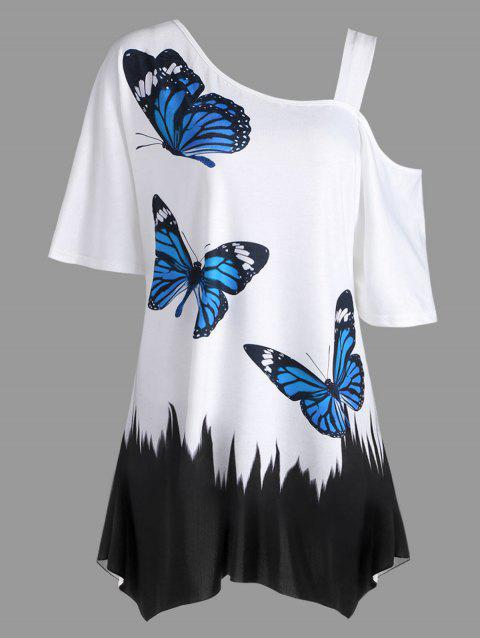 Plus Size Butterfly Printed Tunic T-shirt - WHITE 3XL