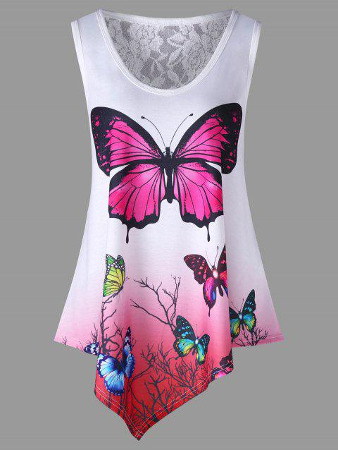 Butterfly Print Ombre Color Swing Tank Top - WHITE L