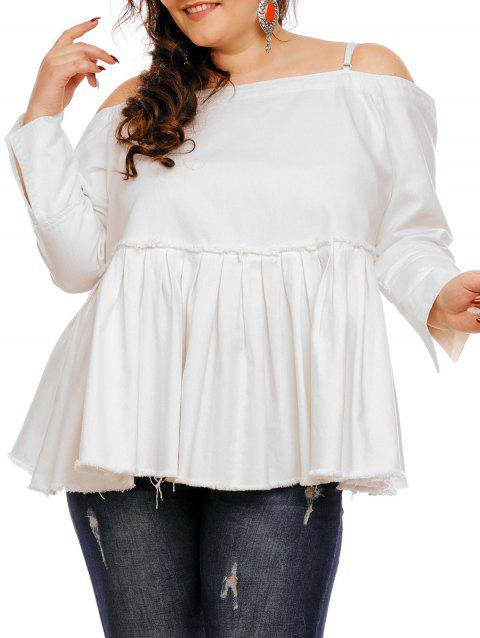 ee8294d43b25d 17% OFF  2019 Plus Size Off The Shoulder Peplum Top In WHITE 3XL ...