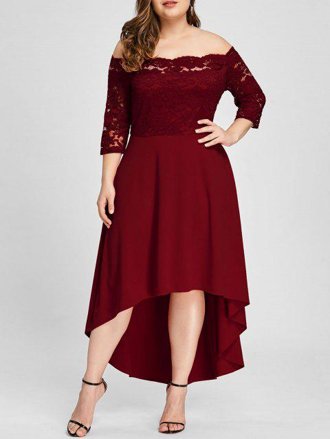 Plus Size Lace Off Shoulder Flare Dress - WINE RED 5XL