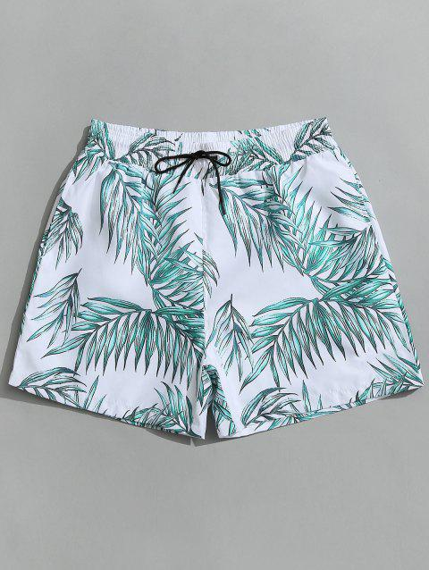 Leaf Print Swimming Board Shorts - WHITE XL
