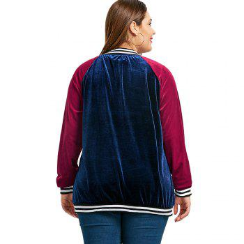 Raglan Sleeve Velvet Plus Size Baseball Jacket - CADETBLUE 2XL