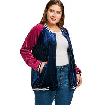 Raglan Sleeve Velvet Plus Size Baseball Jacket - CADETBLUE XL
