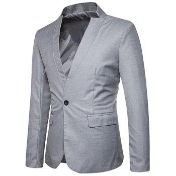 Flap Pocket Stand Collar One Button Blazer - GRAY S