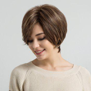 Short Colormix  Inclined Bang Straight Human Hair Wig -  COLORMIX