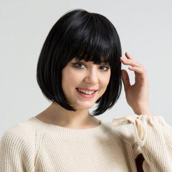 Short Straight Bob Human Hair Wig with Full Bang - GRAPHITE GRAPHITE
