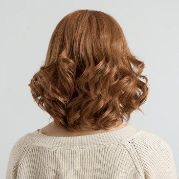 Short Inclined Bang Fluffy Wavy Human Hair Wig -  AUBURN BROWN
