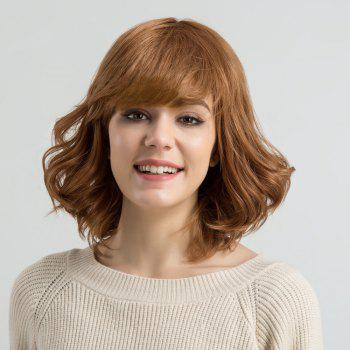 Short Inclined Bang Fluffy Wavy Human Hair Wig - AUBURN BROWN #30 AUBURN BROWN