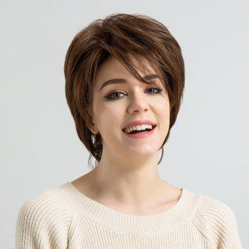 Short Inclined Fringe Layered Fluffy Straight Human Hair Wig - COLORMIX
