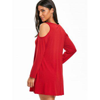Criss Cross Cold Shoulder Mini Swing Dress - DEEP RED M