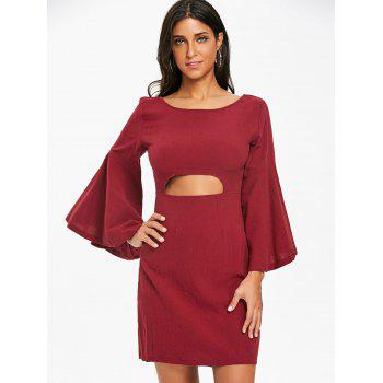 Flare Sleeve Cut Out Bowknot Mini Dress - WINE RED S