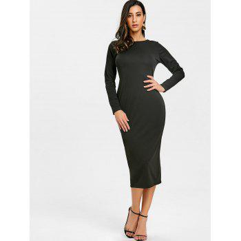 Back Zip Up Long Sleeve Bodycon Dress - BLACK M