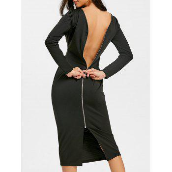 dresslily Back Zip Up Long Sleeve Bodycon Dress
