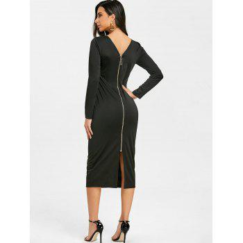 Back Zip Up Long Sleeve Bodycon Dress - BLACK XL