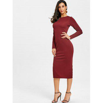 Back Zip Up Long Sleeve Bodycon Dress - WINE RED XL