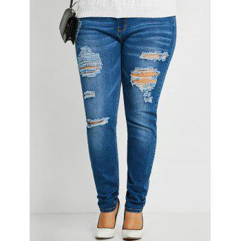 Plus Size Slim Ripped Jeans - BLUE BLUE