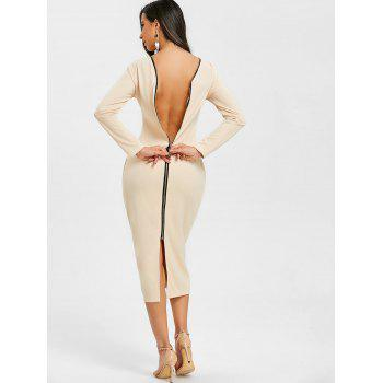Back Zip Up Long Sleeve Bodycon Dress - APRICOT S