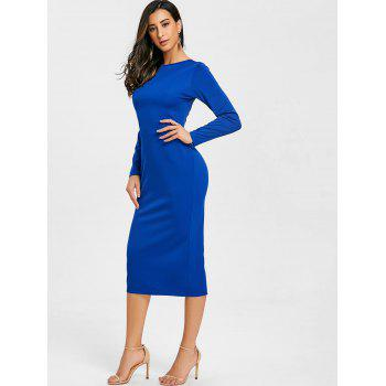 Back Zip Up Long Sleeve Bodycon Dress - BLUE XL
