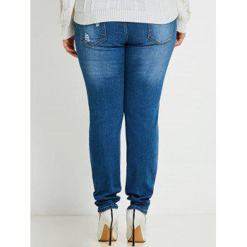 Plus Size Slim Ripped Jeans - BLUE 3XL