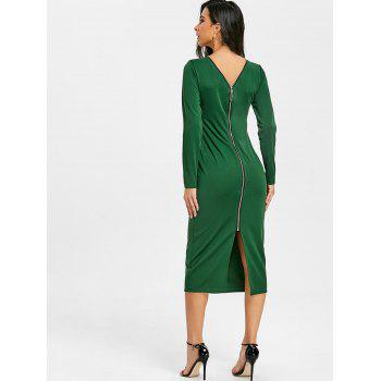 Back Zip Up Long Sleeve Bodycon Dress - GREEN S