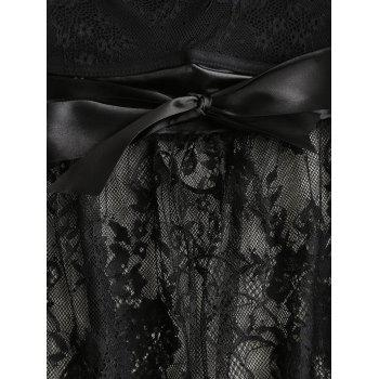 Sheer Lace Slip Babydoll - BLACK M