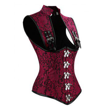 Lace-up Steampunk Brocade Corset Top - RED RED