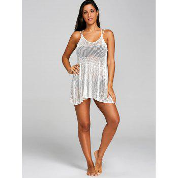 Slip Crochet Low Back Cover Up Dress - WHITE ONE SIZE