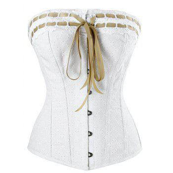 Lace-up Steel Boned Cotton Corset - WHITE WHITE