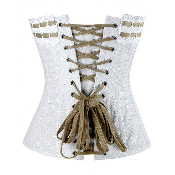 Lace-up Steel Boned Cotton Corset - WHITE M