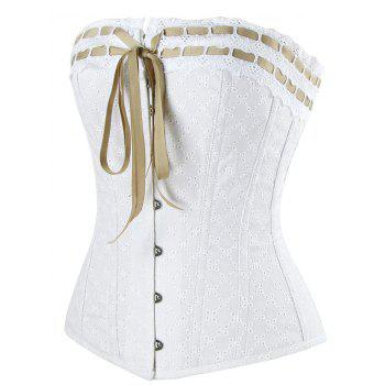 Lace-up Steel Boned Cotton Corset - WHITE 2XL