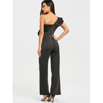 One Shoulder Flounce Wide Leg Jumpsuit - BLACK XL