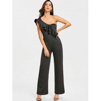 One Shoulder Flounce Wide Leg Jumpsuit - BLACK BLACK
