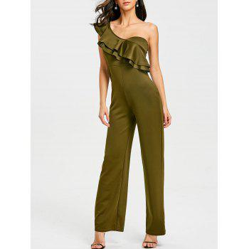 One Shoulder Flounce Wide Leg Jumpsuit - ARMY GREEN ARMY GREEN