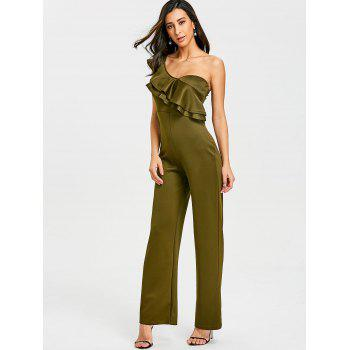 One Shoulder Flounce Wide Leg Jumpsuit - ARMY GREEN S