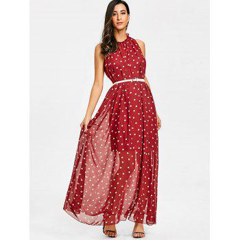Polka Dot Sheer Overlay Maxi Dress - RED RED