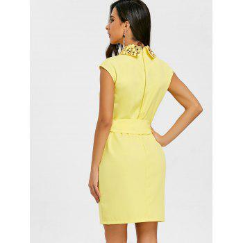 Sequins Shift Mini Dress - YELLOW XL