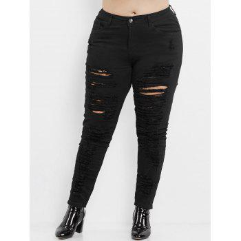 Plus Size High Rise Slim Ripped Jeans - BLACK BLACK