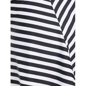 Summer Stripe Beach Swim Skirt - BLACK 2XL