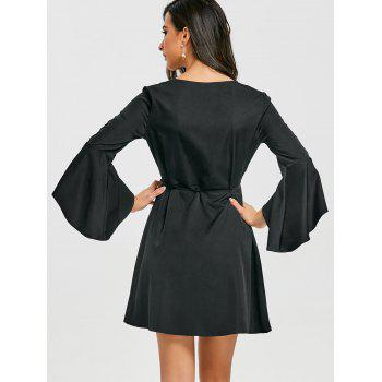 V Neck Mini Bell Sleeve Wrap Dress - BLACK BLACK