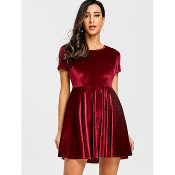 Velvet A Line Mini Dress - RED M