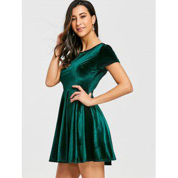 Velvet A Line Mini Dress - GREEN GREEN