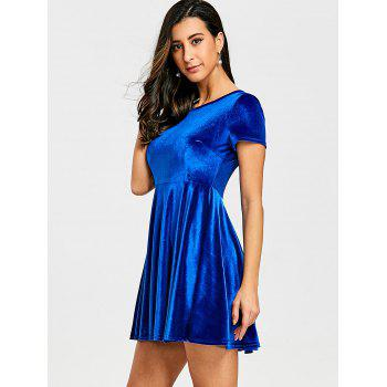Velvet A Line Mini Dress - BLUE BLUE