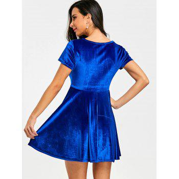 Velvet A Line Mini Dress - BLUE M