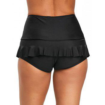 Ruffle Trim Beach Swim Bottom - BLACK L